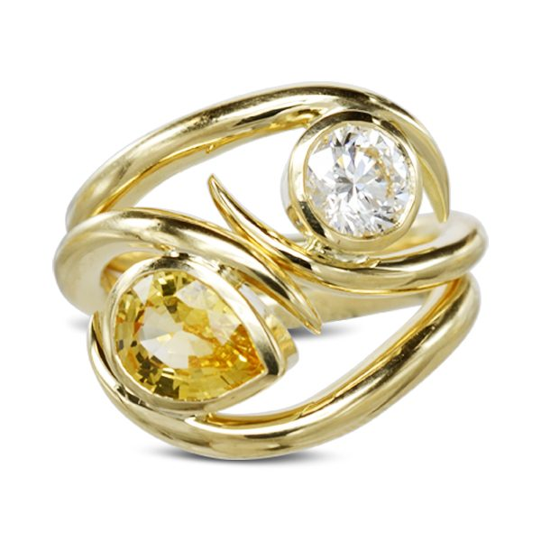 Yellow sapphire diamond spiky stacking rings