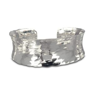 Slim Hammered Silver Cuff Bangle Concave