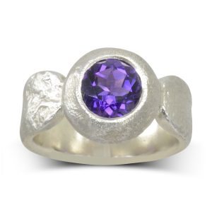 Giant Amethyst Silver Nugget Ring