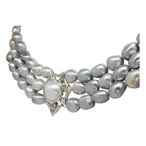 Magnetic Triple Strand Pearl Catch