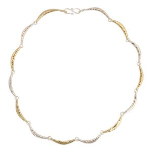 Silver Gold Hammered crescent necklace