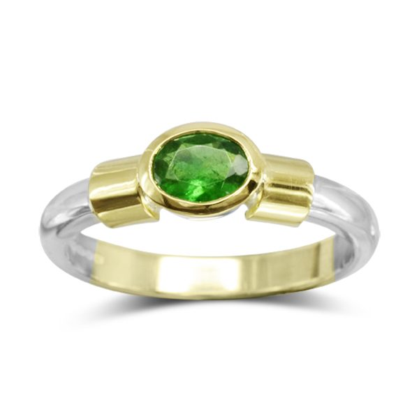 Emerald Gold Shouldered Ring