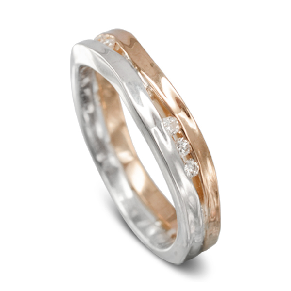 Two Colour Diamond Trap Ring rose gold