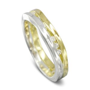 Two Colour Diamond Trap Ring