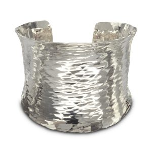 Wide Hammered Silver Cuff Bangle Concave