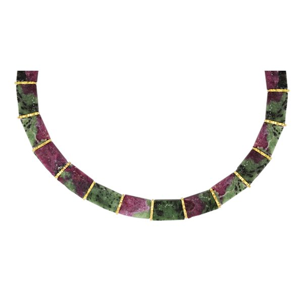 Unusual Ruby Zoisite Collar Necklace