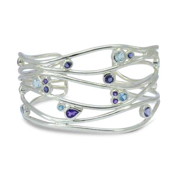 unusual silver gemstone bangle