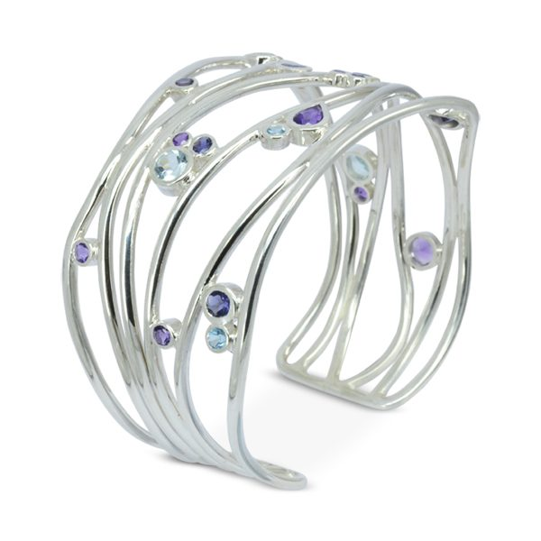 Amethyst Topaz Silver Six Strand Cuff Bangle