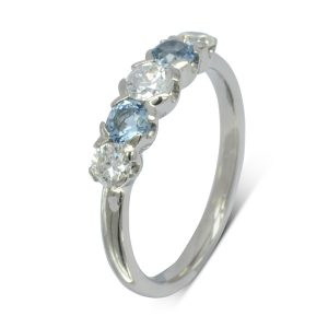 Aquamarine Diamond Five Stone Eternity Ring
