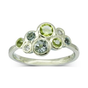 Aquamarine Peridot Diamond Bubbles Cluster Ring