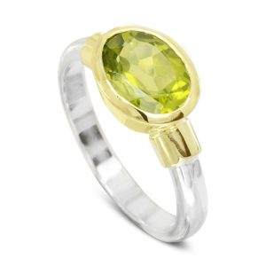 Peridot Ring with Gold Shoulders