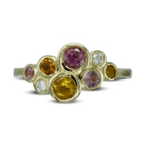 Pink Tourmaline Citrine Diamond Bubbles Cluster Ring