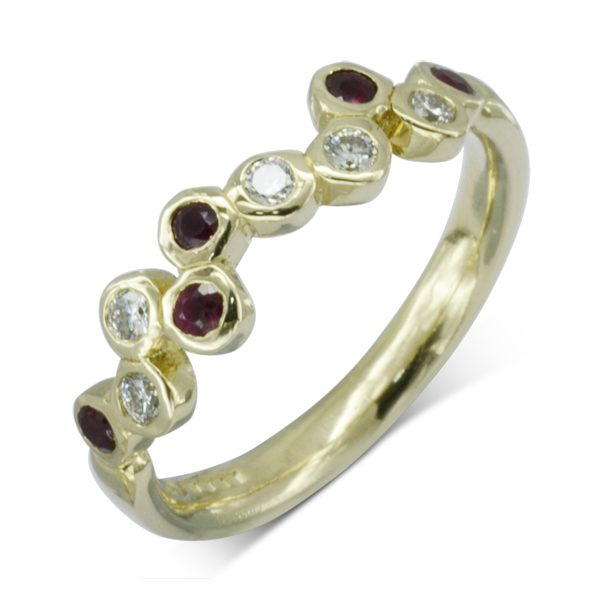 Bespoke Ruby Diamond Offset Bubbles Ring