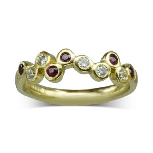 Ruby Diamond Offset Bubbles Ring