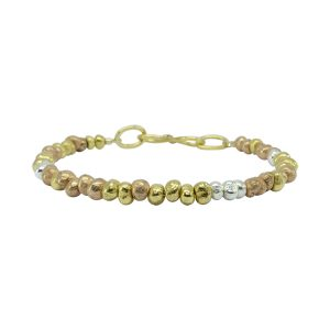 Three Colour Gold Nugget Bracelet