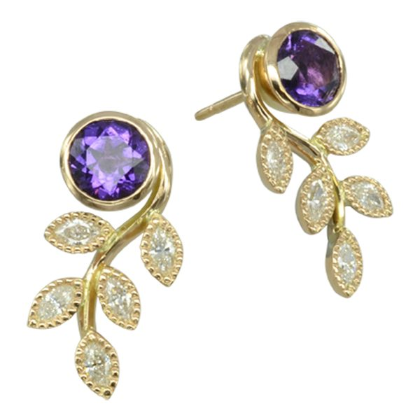 vintage amethyst leaf earrings