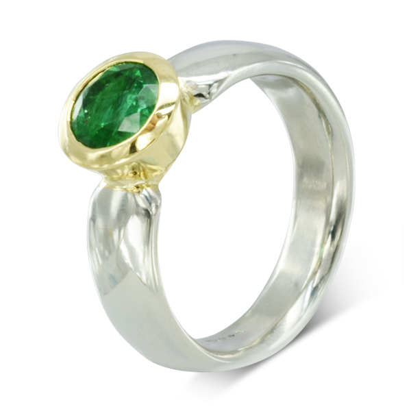 unusual bespoke Emerald Engagement Ring