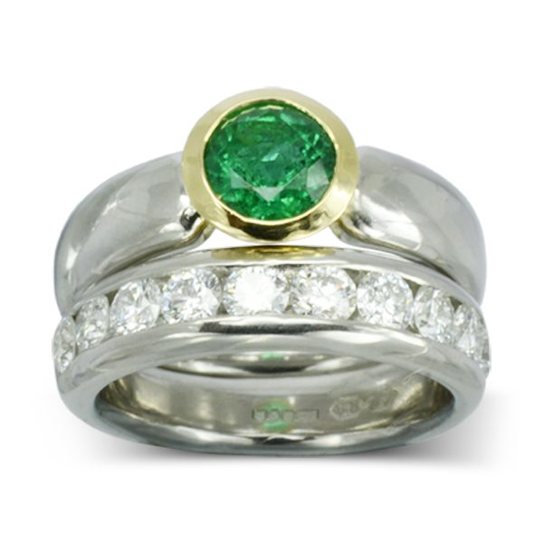 Chunky Modern Emerald engagement ring