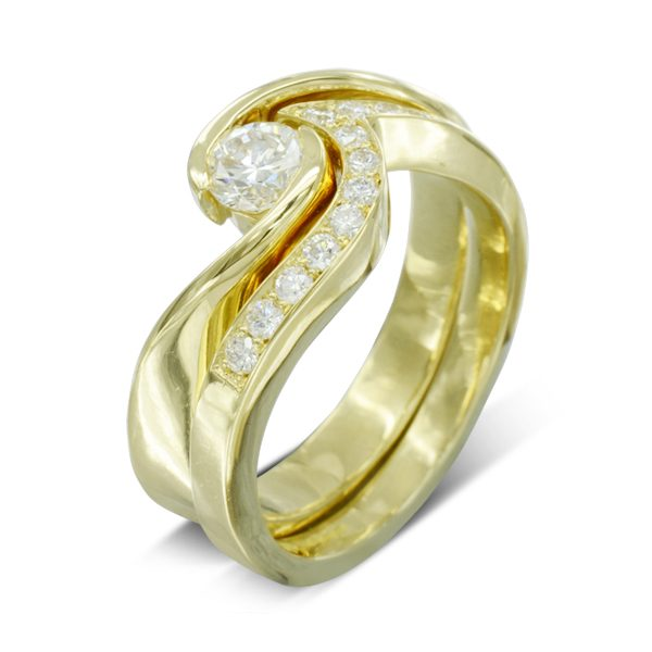Twist Diamond Engagement and Wedding Ring Set
