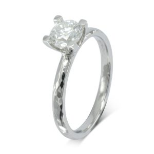 Slim Hammered Four Claw Diamond Engagement Ring