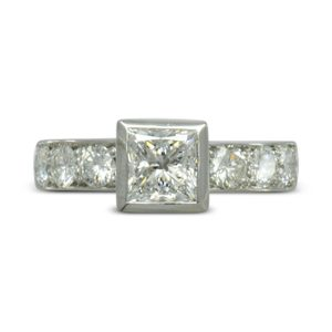 pave set princess cut engagement ring