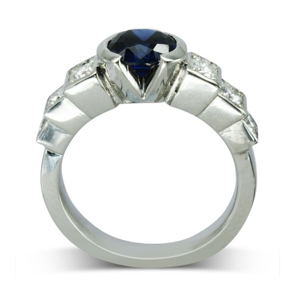 Sapphire Art Deco Inspired Engagement Ring