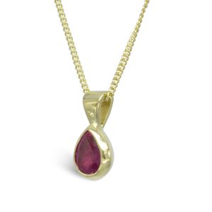 Gold Ruby Pear Shaped Pendant