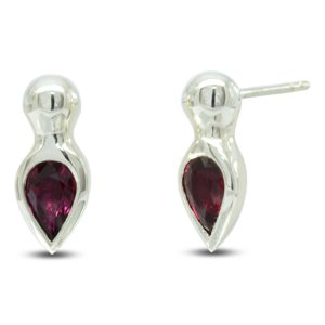 White Gold Ruby Pear Shaped Earstuds
