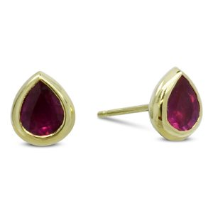 Gold Ruby Pear Shaped Earstuds