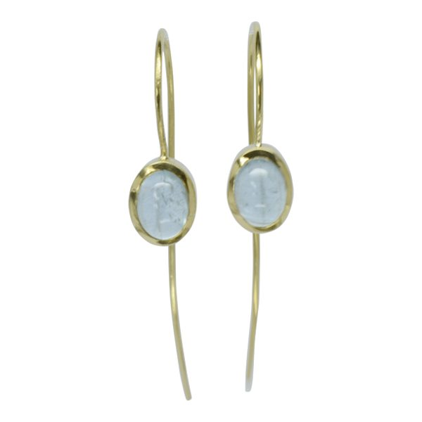 Aquamarine Cabochon Long Hook Wire Wedding Earrings