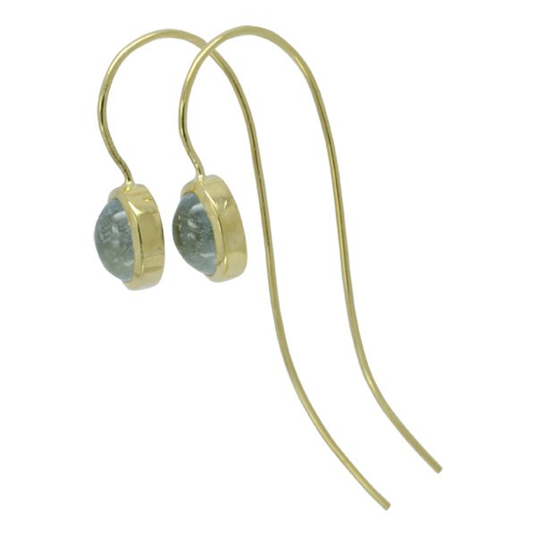 Aquamarine Cabochon Long Hook Wire Earrings