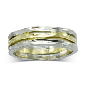 Three Strand Side Hammered Wedding Band