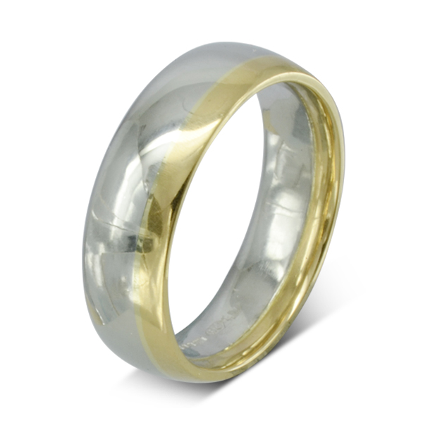 Two Color Gold Court Wedding Band