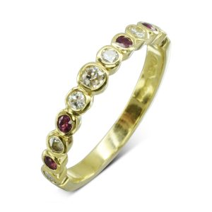 Ruby Old Cut Diamond Eternity Ring