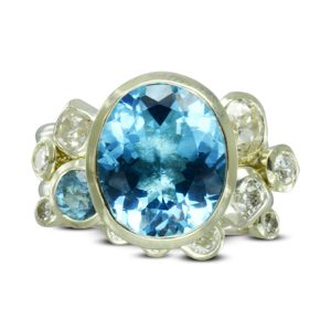 Redesigned Aquamarine Diamond Giant Cocktail Ring