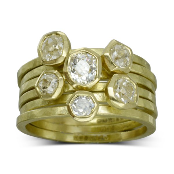 Bespoke Sussex Old Cut Diamond Carved Stacking Ring