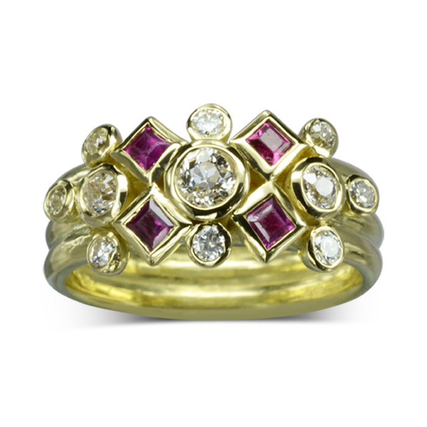 Square Ruby Diamond Stacking Ring