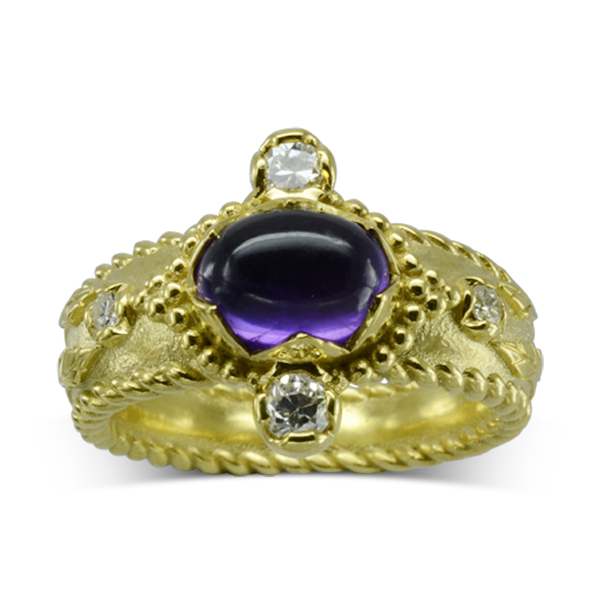 unusual Medieval Inspired Amethyst Gold Ring