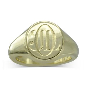 Stylish Engraved Monogram Signet Ring