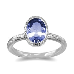 Hammered Sapphire solitaire Ring