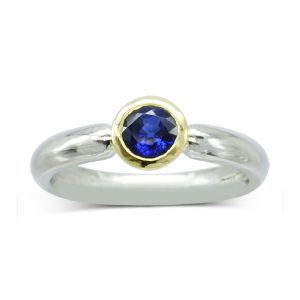 Modern sapphire solitaire ring