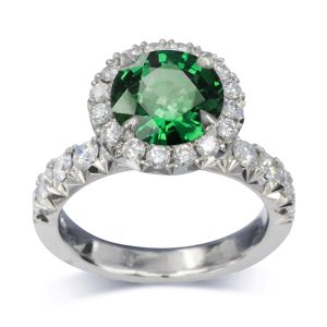 2ct emerald cluster ring