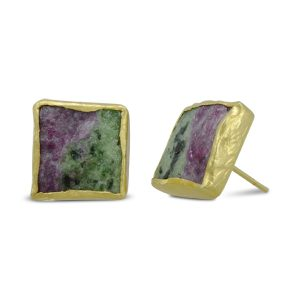 Ruby Zoisite Square Earstuds