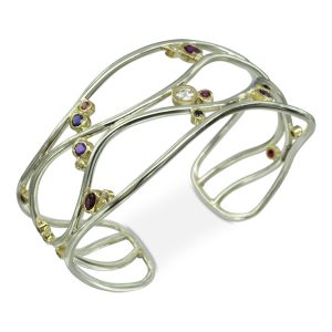White Gold Ruby Diamond Cuff Bangle