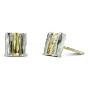 Two colour gold Side Hammered Earstuds
