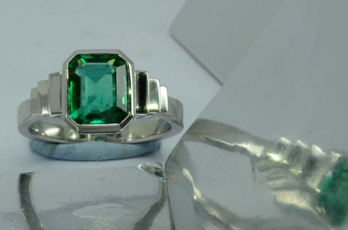 An Unusual Choice: Emerald Engagement Rings Emerald art deco ring