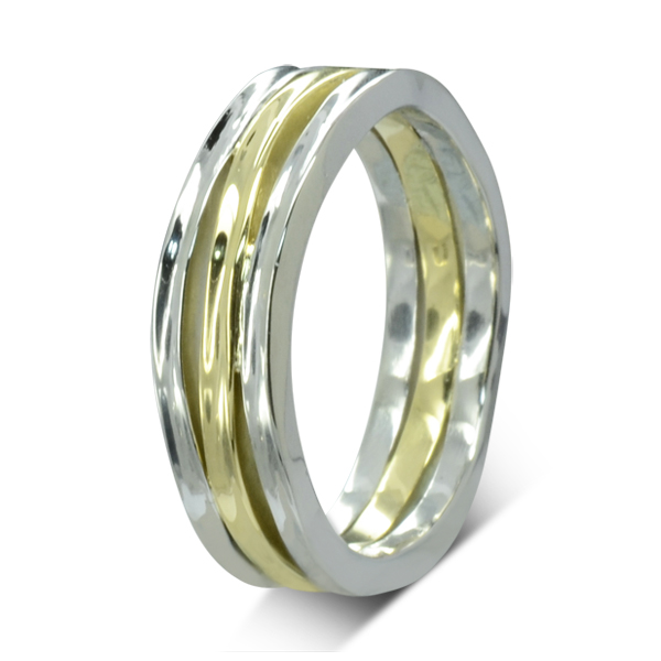 two colour gold mens organic wedding ring