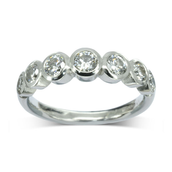 Diamond bubbles Half Eternity Ring