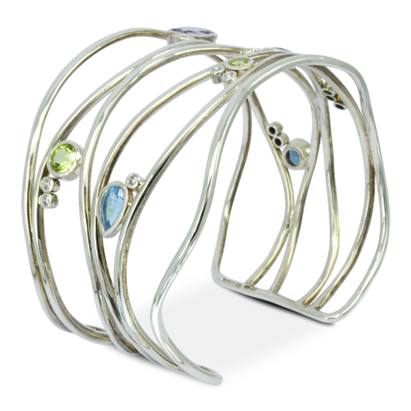 Recycled diamond and gem cuff bangle bespoke sussex