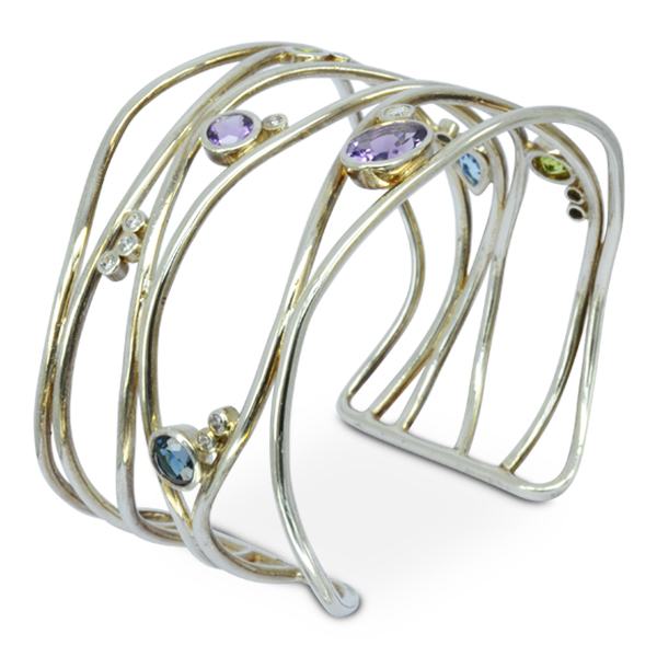Gemset Six Strand Cuff Bangle